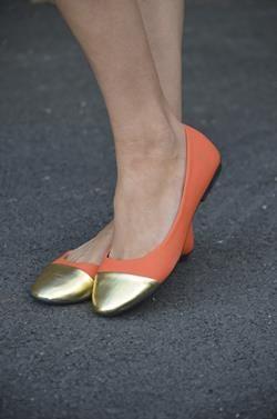 - Orange with Gold Toe Flats #
