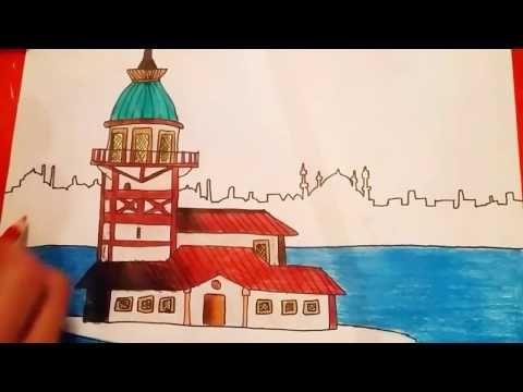 Cok Kolay Kiz Kulesi Cizimi Youtube Cizim Sanat Boyama Sayfalari