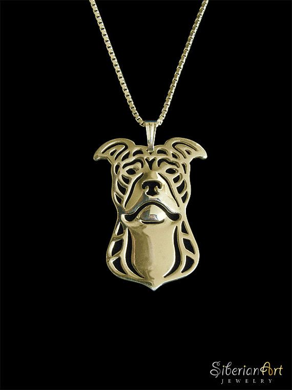 Pit bull terrier gold pendant and necklace aloadofball Gallery