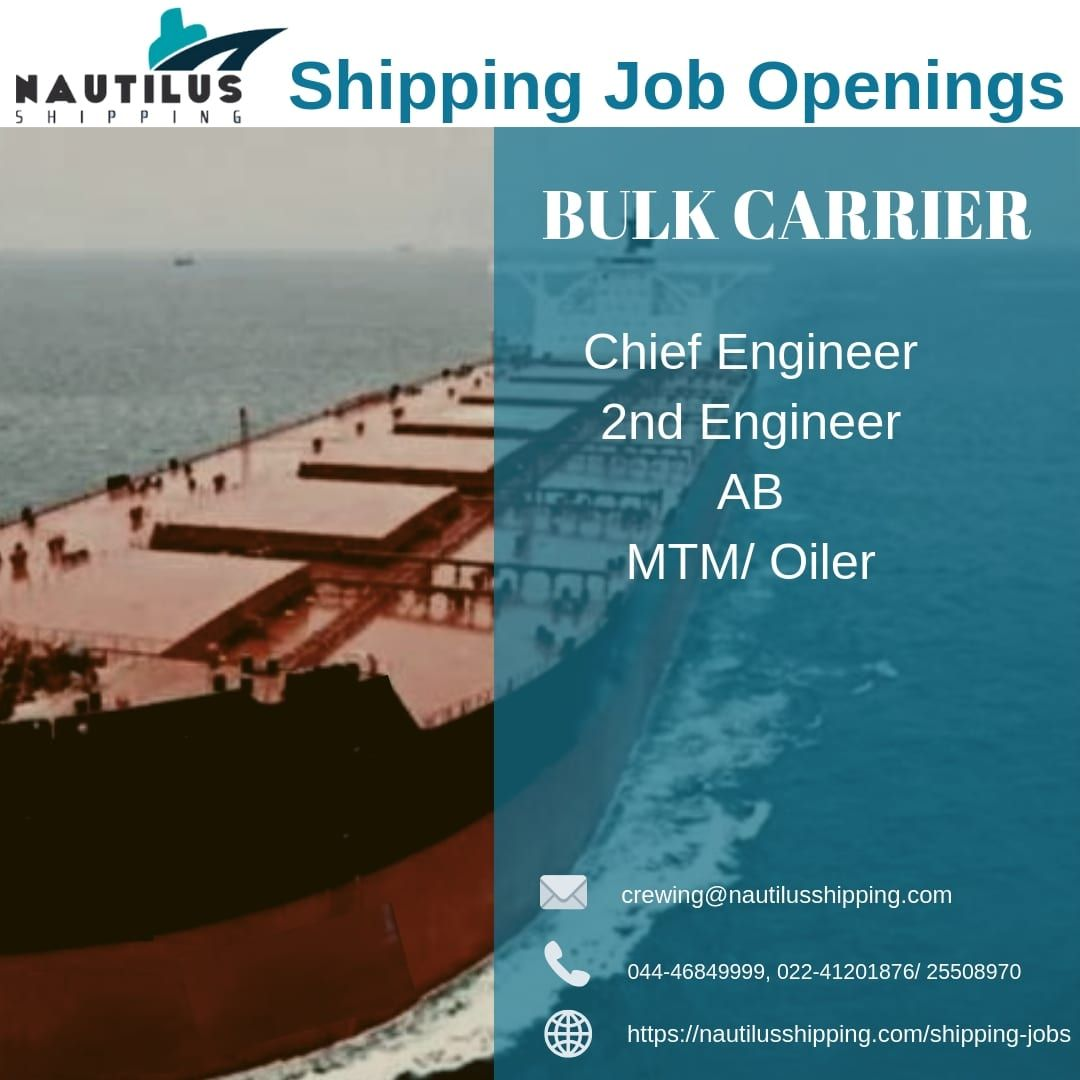 We have job openings for Chief Engineer 2nd Engineer AB MTM/ Oiler