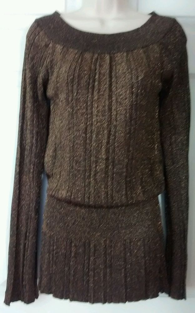 Belldini Brown Sweater Top Gold Sparkles M Medium Long Sleeve Bling  #Belldini #ScoopNeck