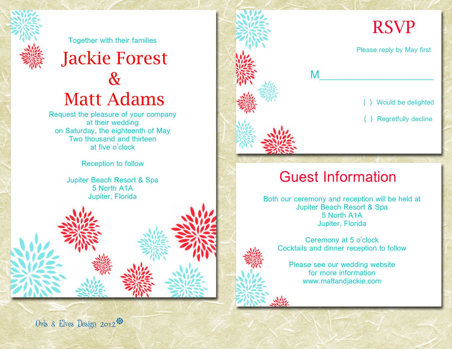 Turquoise and Red Printable Wedding Invitation. $20.00, via Etsy ...
