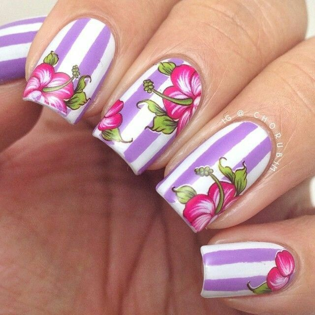 Nail Art Water Decals Transfer Stickers Rose Red Bloomy Floral ...