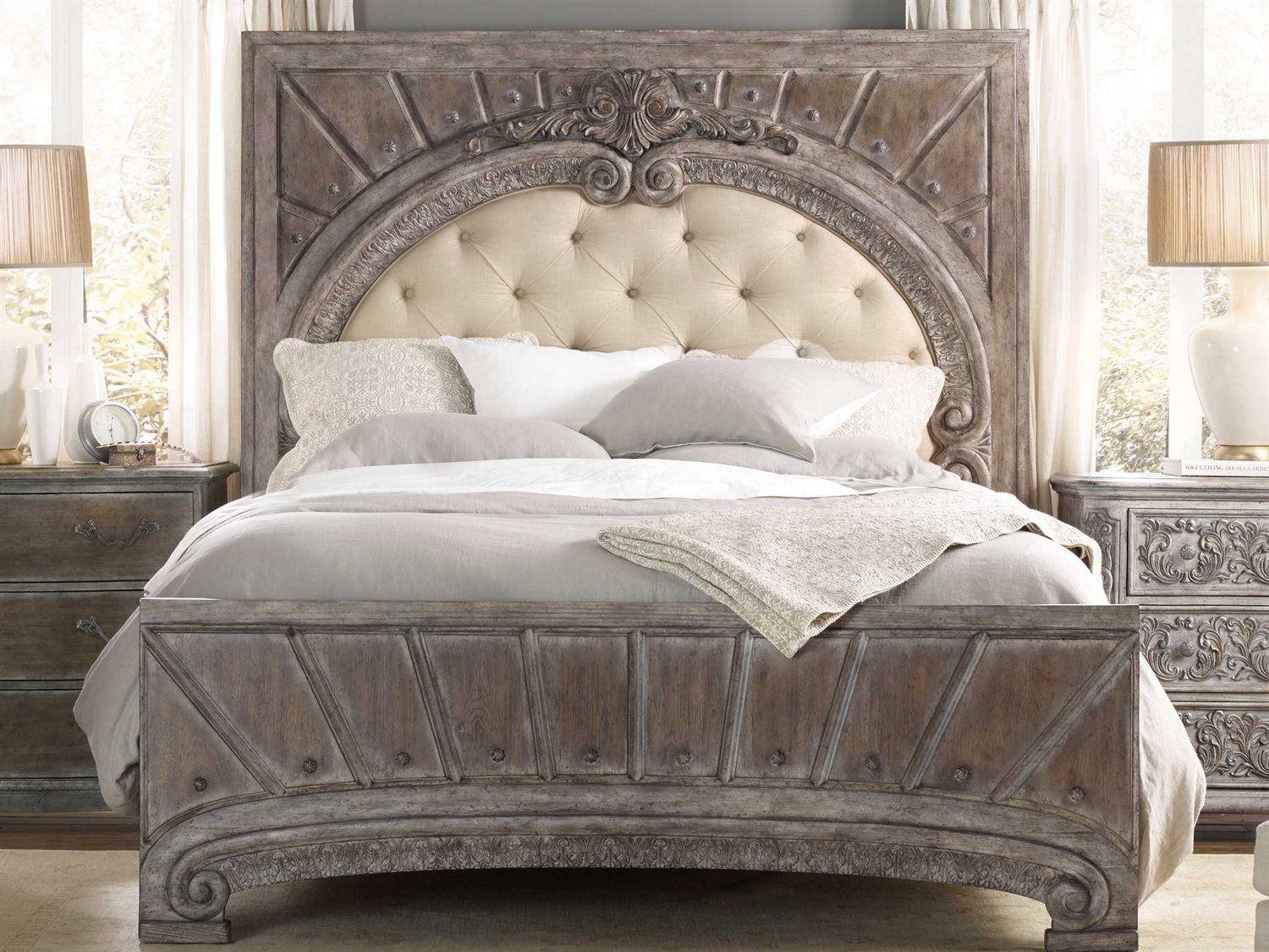 Hooker Furniture True Vintage Soft Driftwood King Size Panel Bed New Fancy Bedroom Sets Inspiration Design