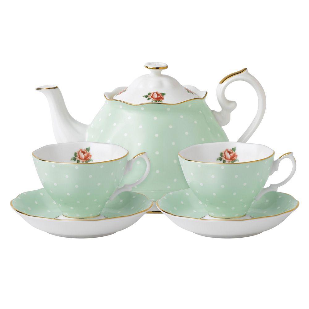 Royal Albert Polka Rose Tea For Two Tea Sets Vintage Bone China Tea Set Tea Pots