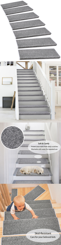 Pure Era Bullnose Carpet Stair Treads Indoor Non Slip Self   Pure Era Carpet Stair Treads   Self Adhesive Bullnose   Skid Resistant   Stair Railing   Grey   Non Slip