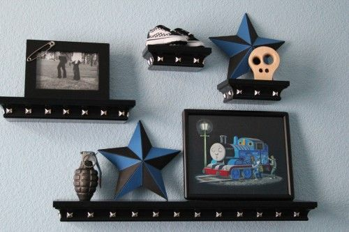 If we get a boy next    Punk inspired nursery and baby shower! Badass! I love the studded shelving.