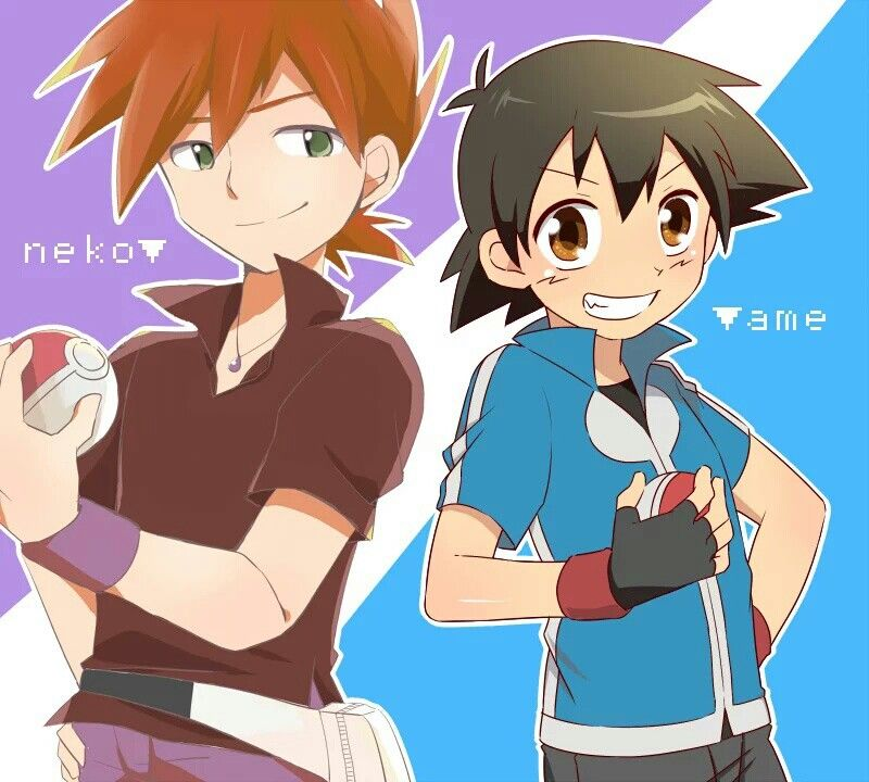Ash Ketchum and Gary Oak ♡ I give good credit to whoever ...