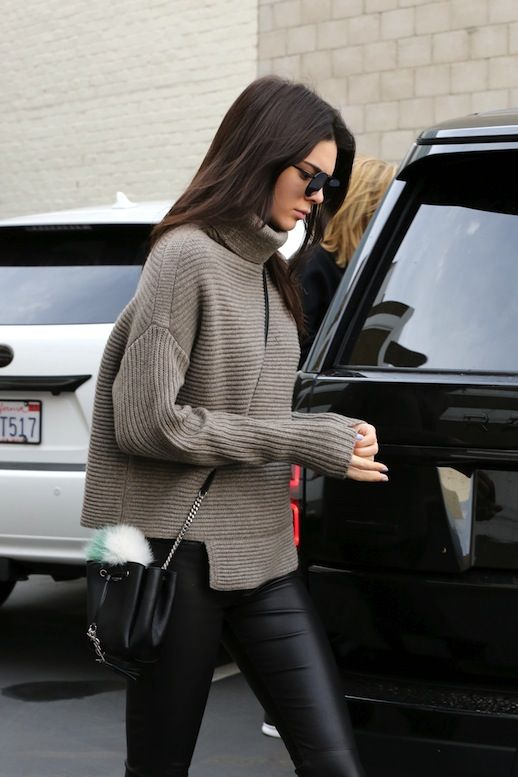 085f4aa7f72946 Le Fashion Blog Model Off Duty Style Kendall Jenner Ribbed Asymmetrical  Turtleneck Knit Small Bucket Bag With Fur Pom Pom Leather Leggings Via ...