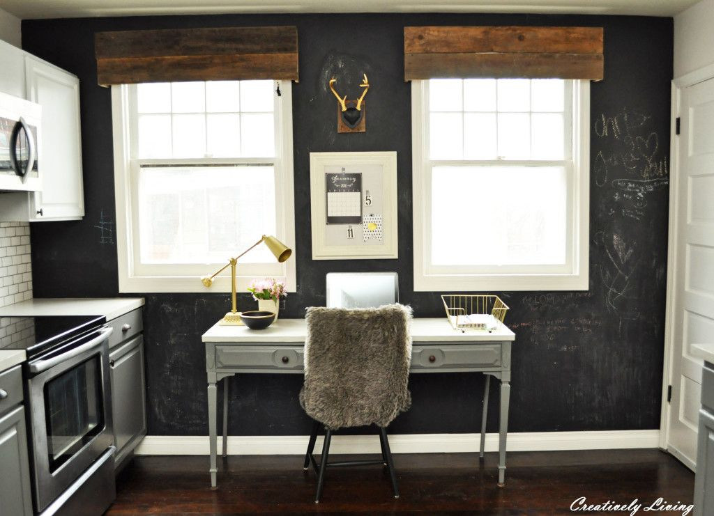 Kitchen Office Wall Remodel U2014 Before And Afters   Love The Reclaimed Wood  Valances Above The