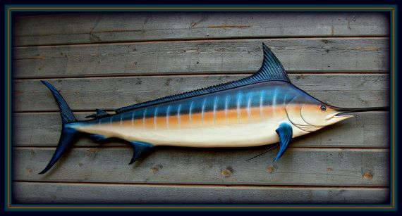 Blue Marlin Fish Wood Carving Wall Mount 72 Inch By Woodnarts