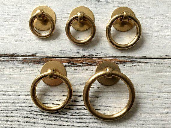 Vintage Style Drop Ring Brass Drawer Knob Pulls Handles Dresser Knobs  Antique Bronze Swing Rustic C
