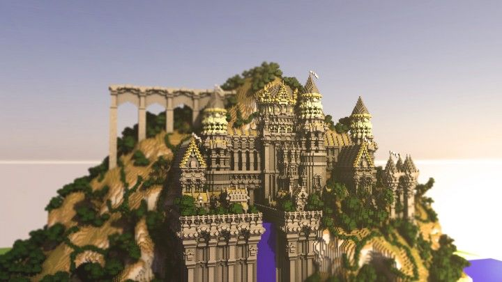 Grandeena Castle Minecraft Builds Amazing Tower Bridge Waterfall Sky 2