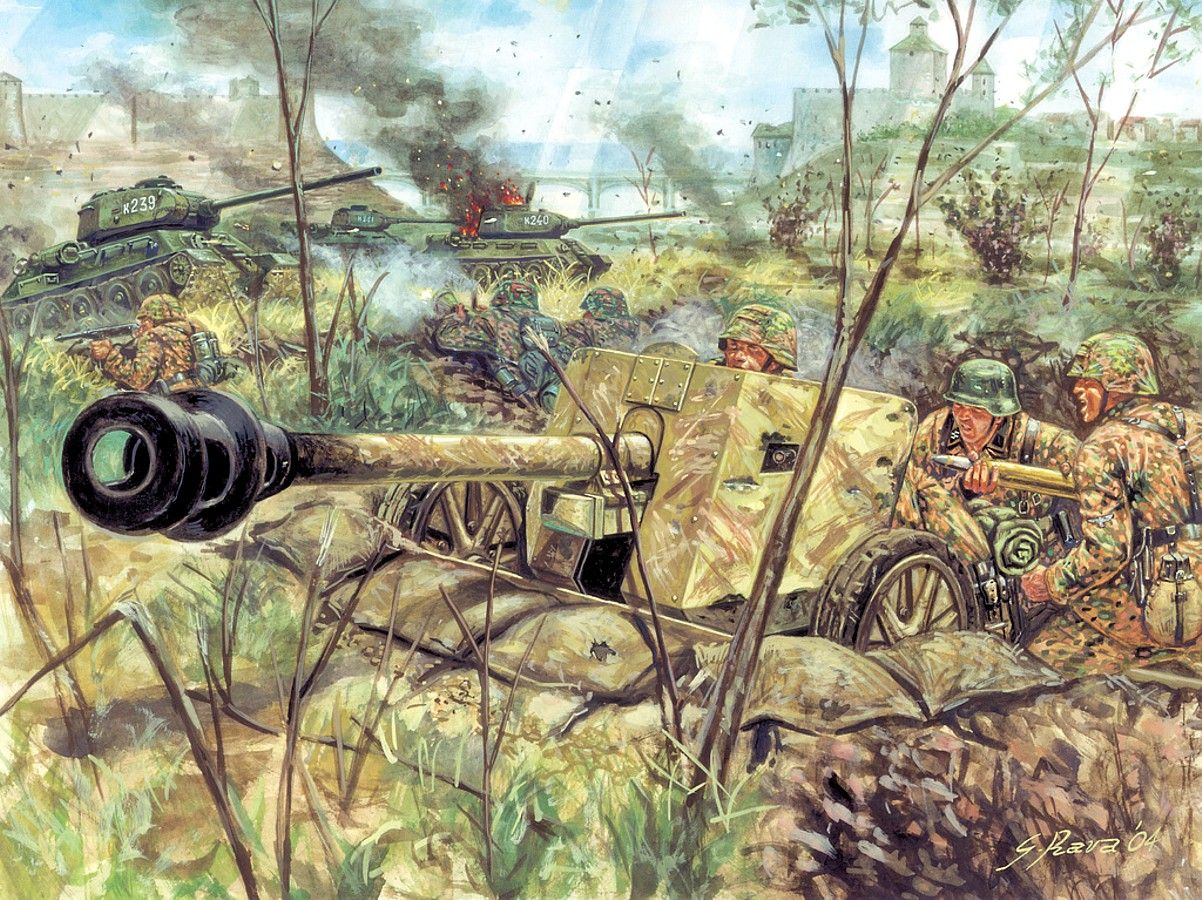 Pak 40 Ss Ww2 War Art Wwii Military Drawings