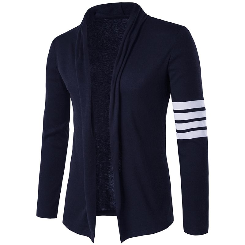new Fashion Sweater for Men's Robe Cardigan Knitted Right Arm Stripes Men Slim Fit Plus Size Men Top Long Sleeve Sweater