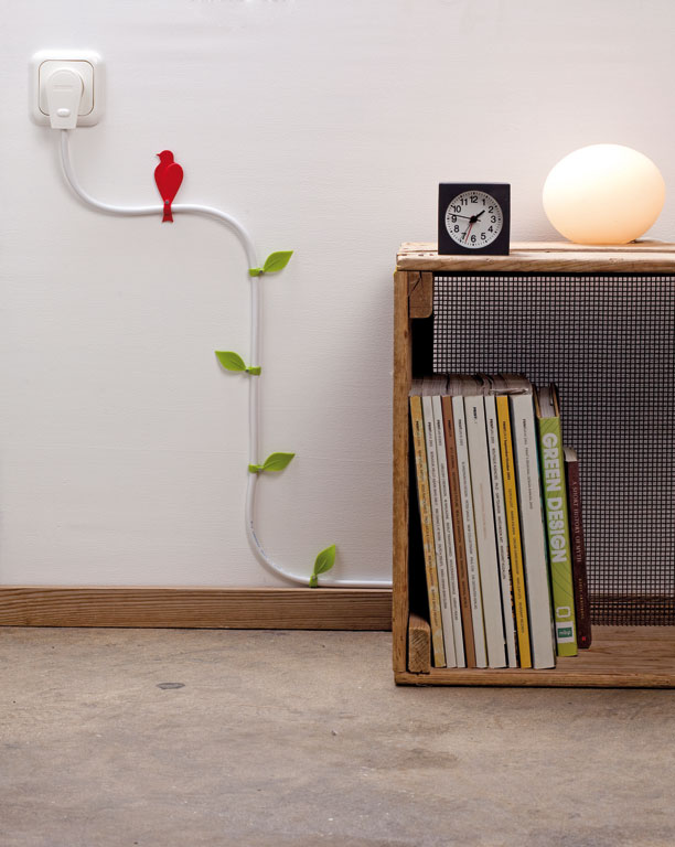 Wire blooms with leaves and a bird, just to perk up your electrical cords