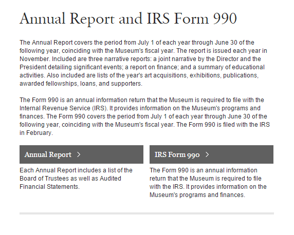 Met Annual Report And Irs Form 990 Metropolitan Museum Of Art