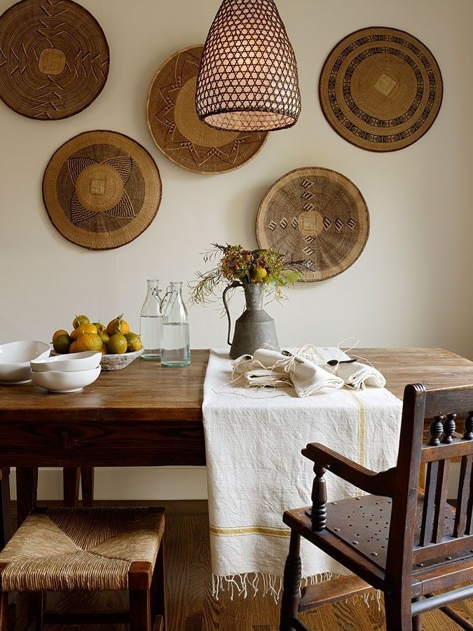 Decorar las paredes con cestas de mimbre  182ca12f645