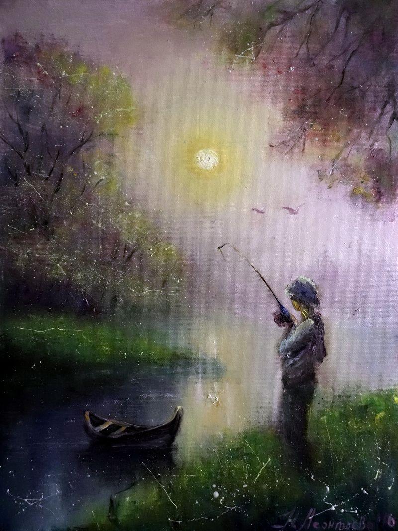 Просмотреть иллюстрацию Утро рыбака из сообщества русскоязычных художников автора Наталья Леонтьева в стилях: Живопись, нарисованная техниками: Живопись, Масло.