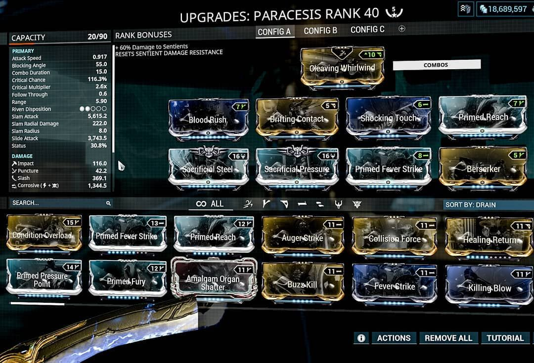 My Paracesis Build Red Crits For Da Win Baby Warframe Pcgames Freetoplay Captura Clem Playwarframe Ninjasplayfree Captura In 2020 Free To Play Gaming Pc Play I am assuming ur running umbra due to the mod capacity, tao bonus', and exalted blades fast generation of combo multiplier, since the swordsmanship passive doesn't or shouldn't be affecting paracesis. my paracesis build red crits for da win