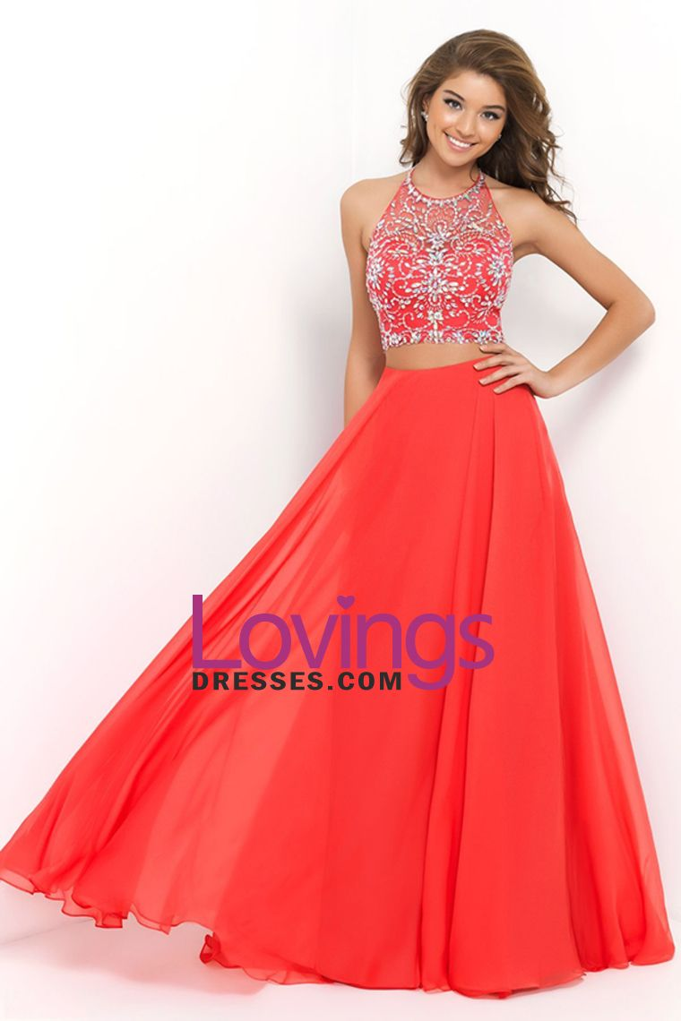 sexy halter two pieces a line prom dress with flowing chiffon