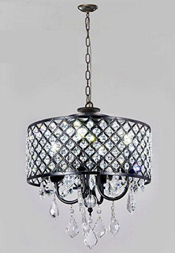 Monet 4 lights Black finished 17 inch Crystal Round Chandelier