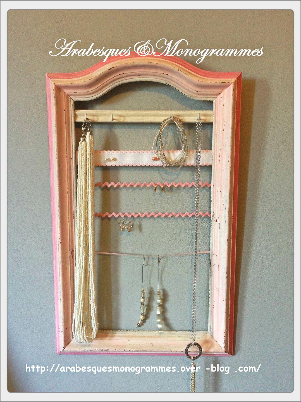 présentoir à bijoux,clés ou simplement décoratif sur cadre ancien