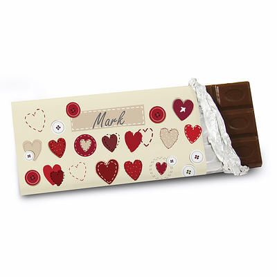 Personalise this Fabric Hearts Design Chocolate Bar for £5.99 only.