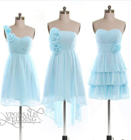 Baby blue short floral bridesmaid dress dvw0150 for winter for Baby blue wedding guest dress