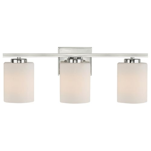 Modern bathroom light with three lights and cylinder glass shades dolan designs lighting modern bathroom light with three lights and cylinder glass shades 3883 mozeypictures Image collections
