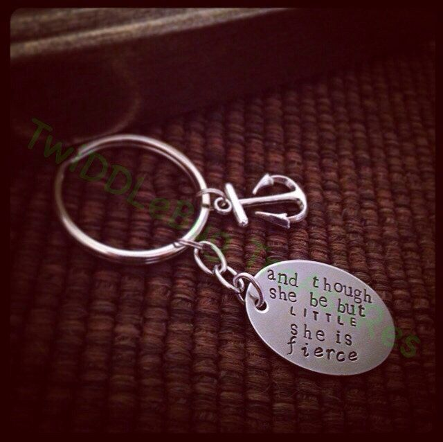 Religious Key Chain READY TO SHIP Though She be but Little She is Fierce Hand Stamped Stainless Steel Key Chain by TwiDDLeBugTreAsuRes on Etsy https://www.etsy.com/listing/196287052/religious-key-chain-ready-to-ship-though