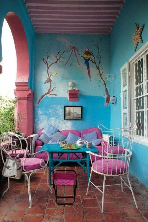 Balkondeko ideen wie sie eine kleine oase erschaffen - Wandgestaltung terrasse ...