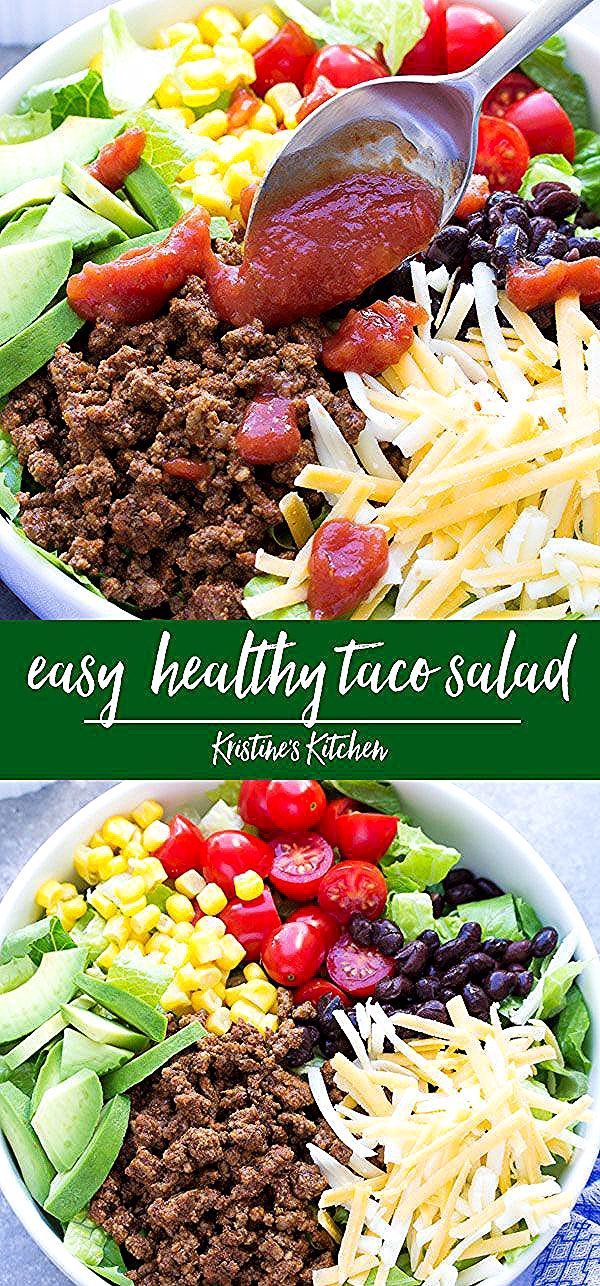 Easy Healthy Taco Salad Recipe, ready in 20 minutes! Make this with ground beef or turkey, or only beans for a vegetarian taco salad. Serve for dinner or meal prep to make lunch bowls! #tacosalad #dinnerideas #lunchideas #mealprep #tacosalad