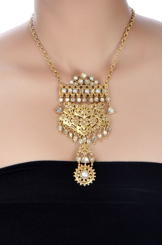 Amrapali: Silver Crystal and Pearl Floral Pendant Necklace
