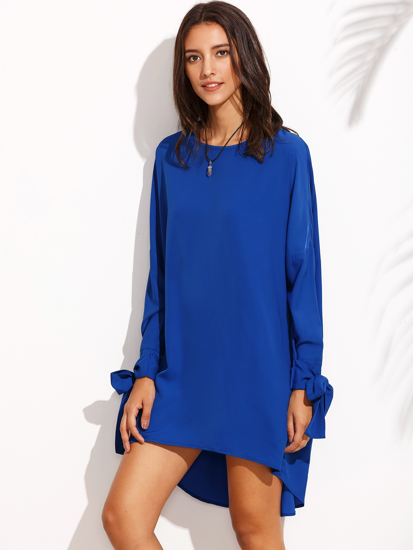 15$  Watch here - http://dia8p.justgood.pw/go.php?t=4728 - Royal Blue Tie Cuff Long Sleeve High Low Dress