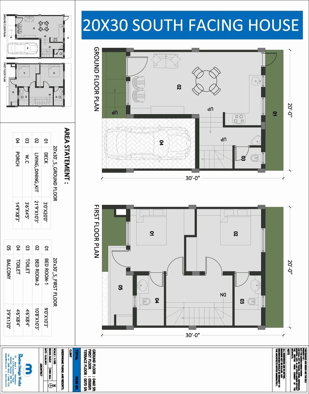 20 X 30 Square Feet House Plan Awesome South Facing Floor Beautiful 20x30 Home South Facing House 20x30 House Plans House Plans