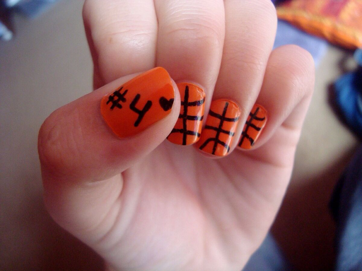Basketball nail design with your # | Beauty | Pinterest