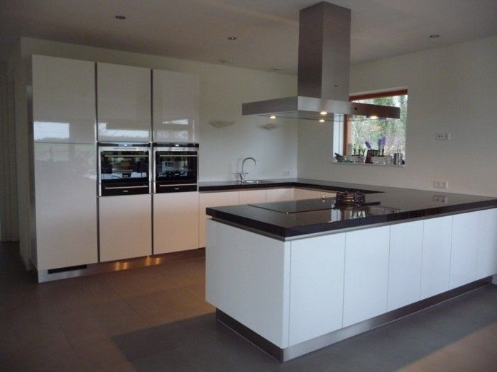 Glimmend wit zwart keuken pinterest photos - Betegeld zwart wit geblokte keuken ...