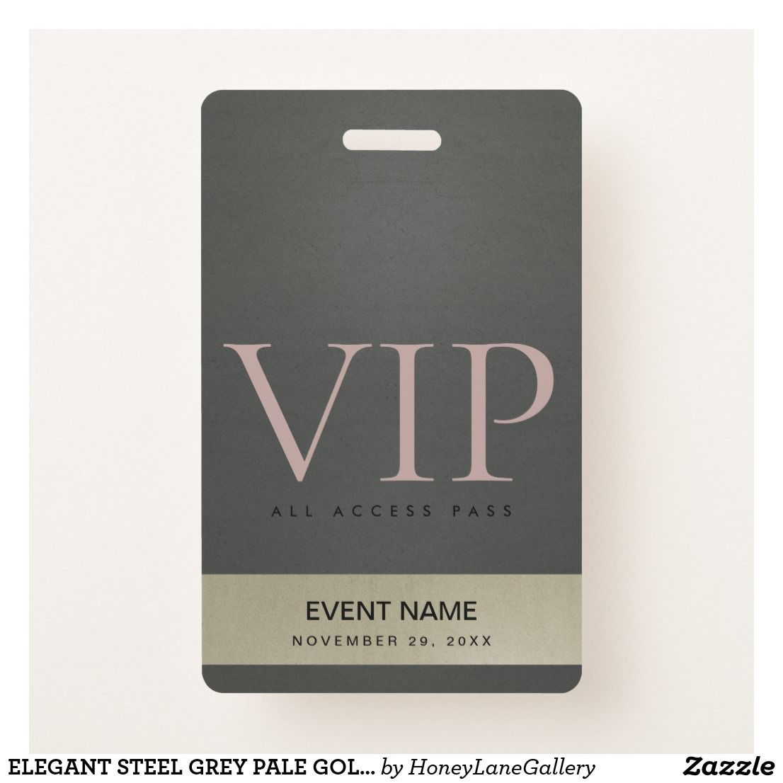 Elegant Steel Grey Pale Gold Vip Event Access Pass Badge Zazzle Com Steel Grey Pale Gold Pale
