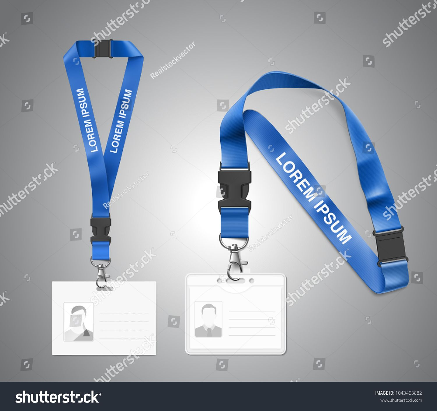 Set Of Lanyard With Id Card Vector Illustration Isolated On White
