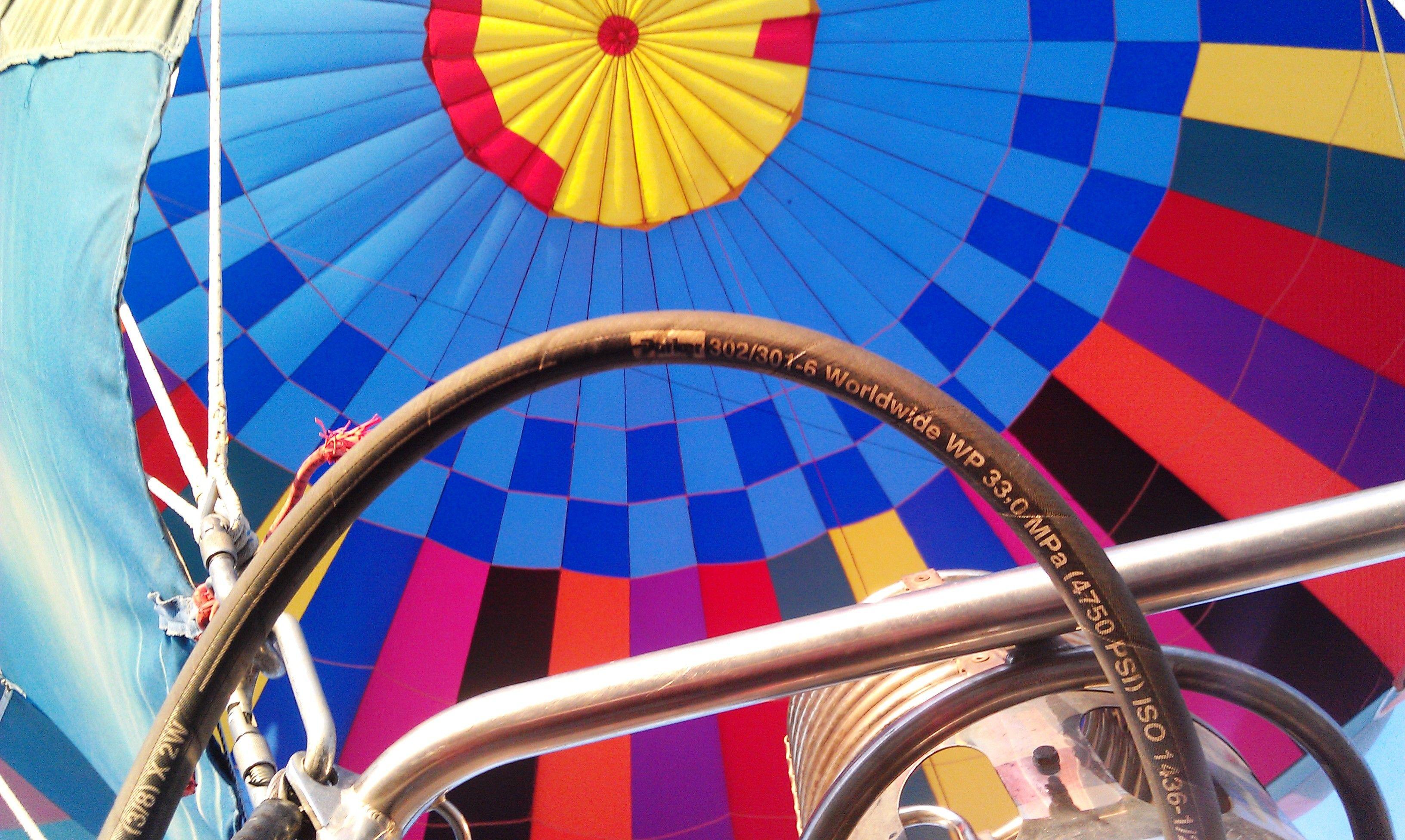 Inside our hot air balloon