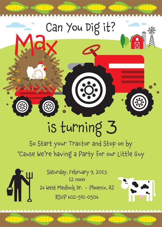 Tractor Farm Birthday Party Invitation Farm birthday Party