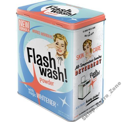 Metalowa Puszka Retro L Flash Wash 5414332543 Oficjalne Archiwum Allegro Nostalgic Art Vintage Tins Powder Detergent