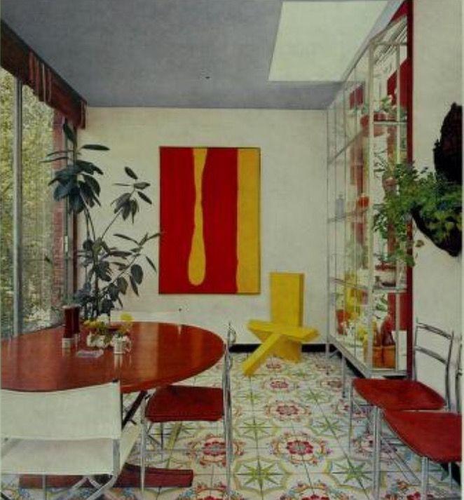 Late 60s early 70s-ish.   Retro interior design, Flower tile