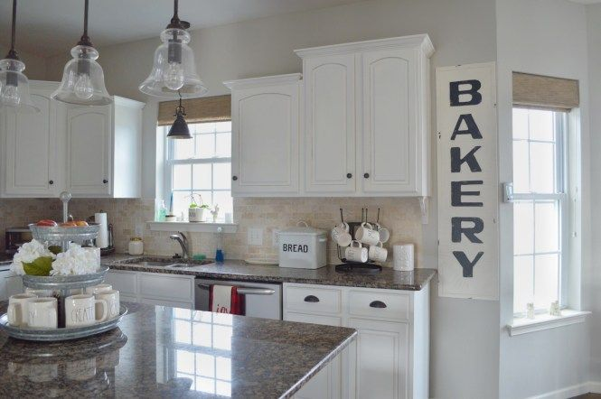 Farmhouse style kitchen, White cabinets, Rae Dunn, Sherwin ...