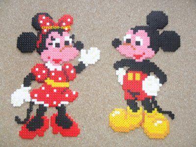 Mickey et Minnie hama beads by creation-nath