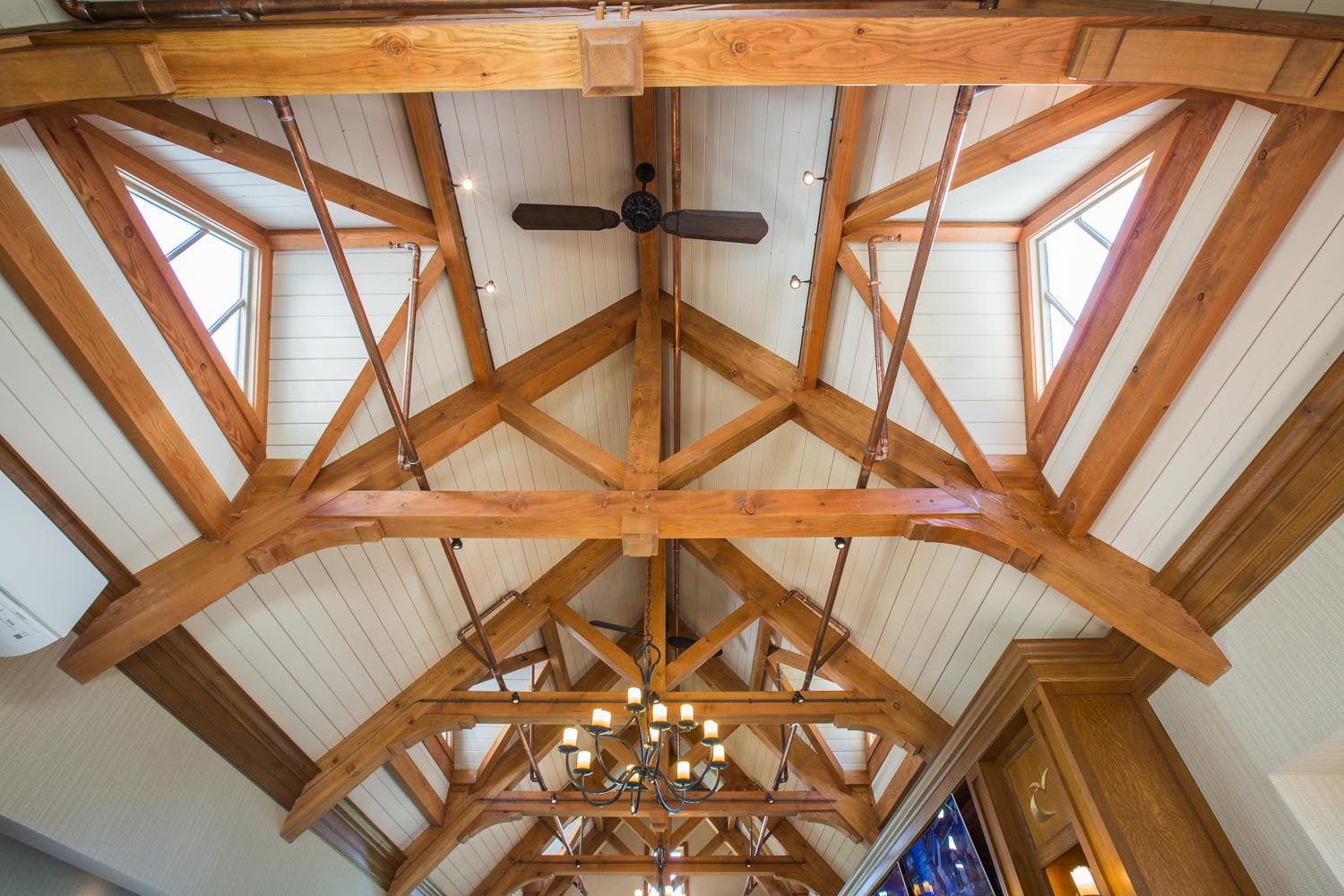 Exposed timber frame ceiling   Timber frame, Ceiling ...