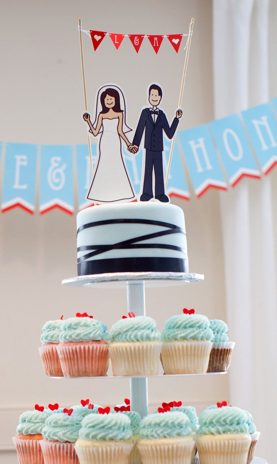 Ilrated Cake Topper And Pennant Banner Customizable