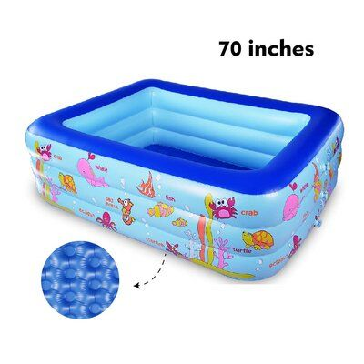 Summer fun for adults and kids: The giant and deep inflatable pool is 70 inches in size and 24 inches in depth. It is an ideal choice for families to enjoy indoors and outdoors. With a lovely ocean world design, the pool can make kids taught in entertainment. | TrueNorth 2 ft X 5.83 ft x 4.58 ft Plastic Kiddie Pool in Blue, Size 24.0 H x 70.0 W in | Wayfair