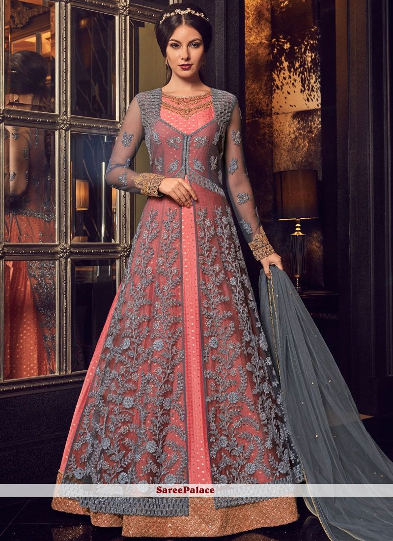 74696a4cde Lace Grey and Pink Floor Length Anarkali Suit in 2019 | Kameez ...
